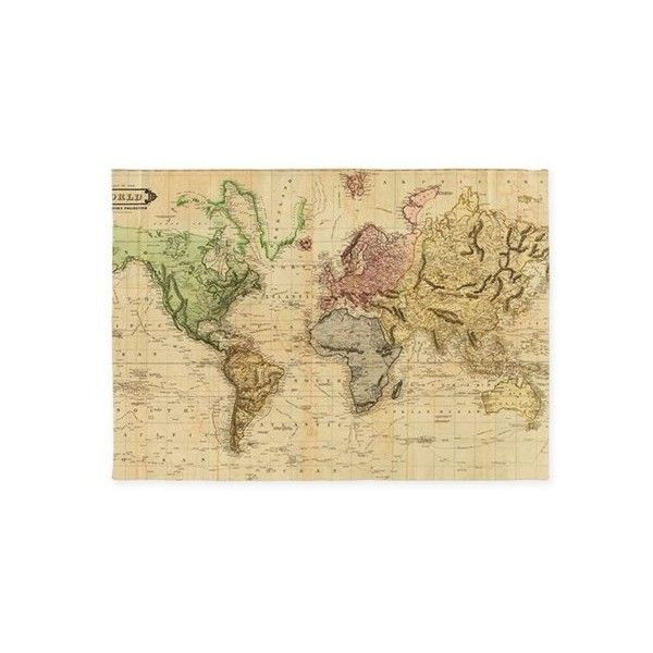 Vintage Map of The World (1831) 5'x7'Area Rug ($150) ❤ liked on Polyvore featuring home, rugs, vintage area rug and vintage rugs