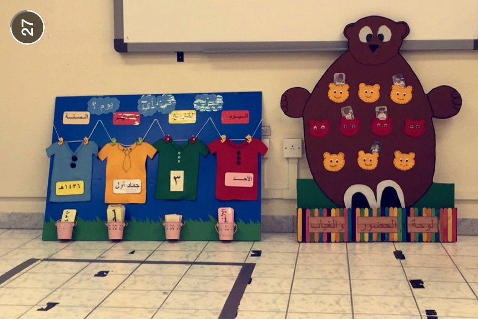لوحة الحضور والغياب عبارة عن مجسم الدب لانه محبوب للأطفال وبه جيوب الطفل الحاضر توضع صورته مع الاسم في الجيب والطفل Crafts For Kids Crafts Holiday Decor