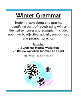 Parts of Speech / Grammar Review - Winter Theme | Educational