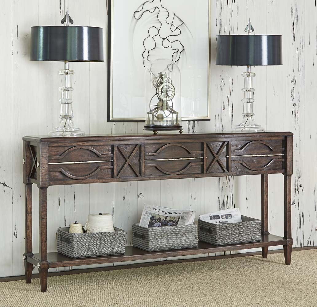 Spindle distressed console table western sofa tables made of spindle distressed console table western sofa tables made of gmelina solids with a distressed dark geotapseo Image collections