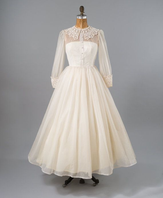 Vintage Wedding Dress: 50s Bridal Gown, White Prom Dress, Sheer Dotted ...
