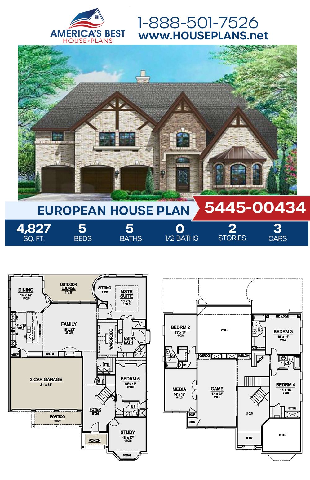 House Plan 5445 00434 French Country Plan 4 827 Square Feet 5 Bedrooms 5 Bathrooms In 2021 European House Dream House Plans House Plans