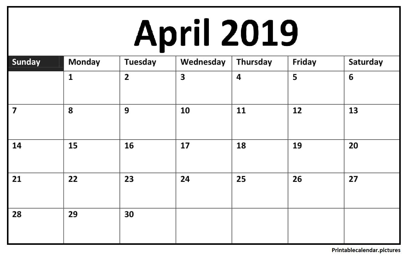 Printable April Calendar Large