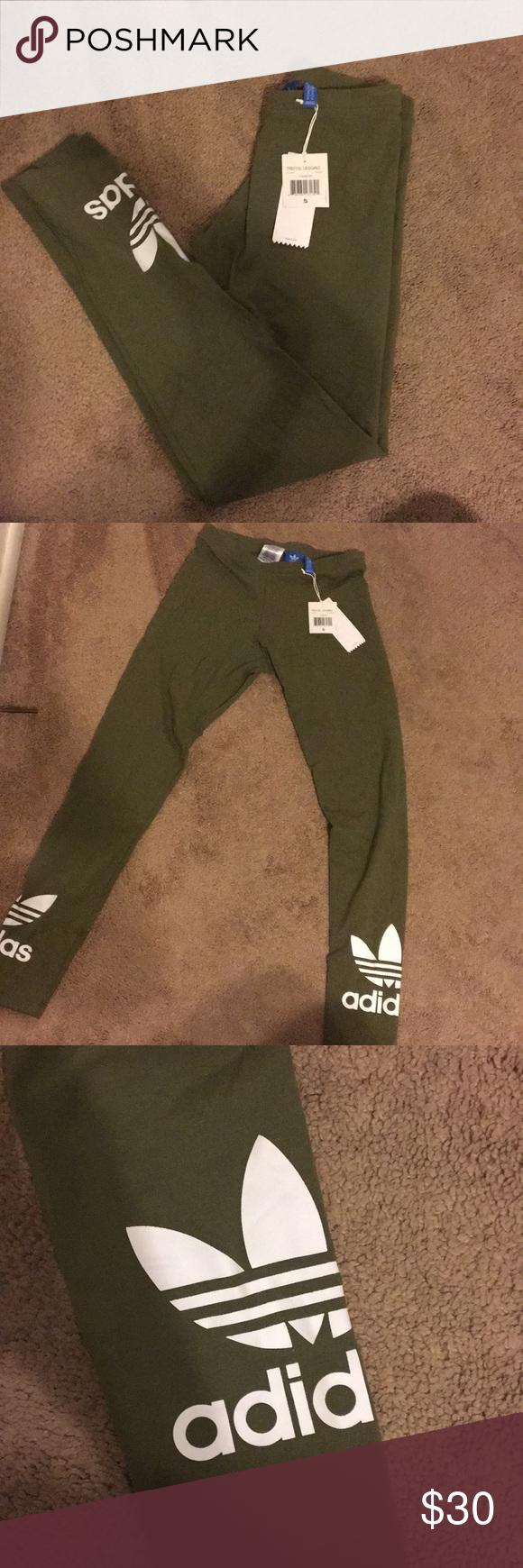 e044036dd1969 Olive Green Adidas Trefoil Leggings BRAND NEW BRAND NEW WITH TAGS OLIVE  GREEN Adidas Originals Trefoil
