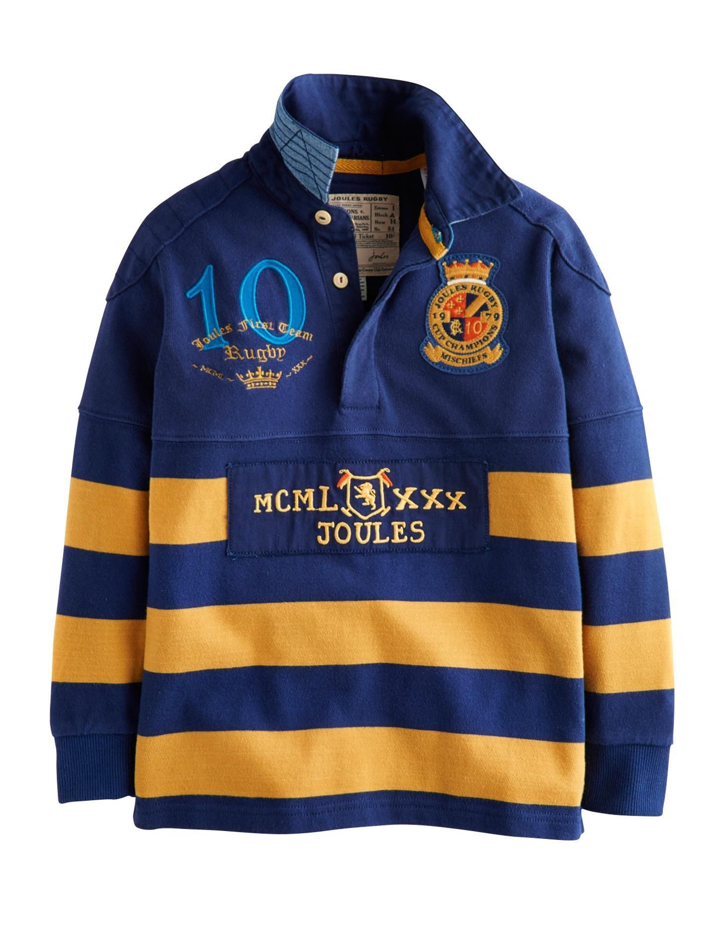 4099c235 Joules Boys Panelled Rugby Shirt, Blue Gem. This rugby shirt is as tough as  old boots, but looks so much better. There's no better kit for climbing  trees, ...