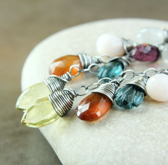 Multi Gemstone  Earrings  Colorful   Oxidized Silver   by Hildes, $48.00