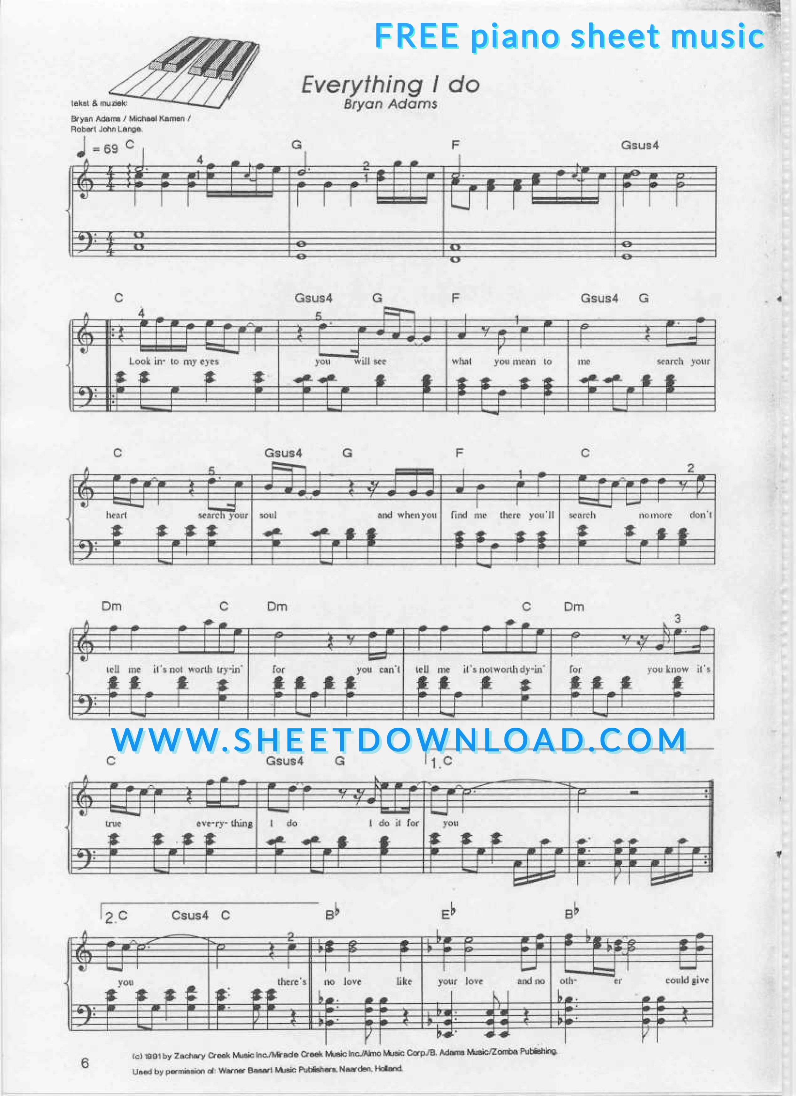View, download and print Everything I Do piano sheet music