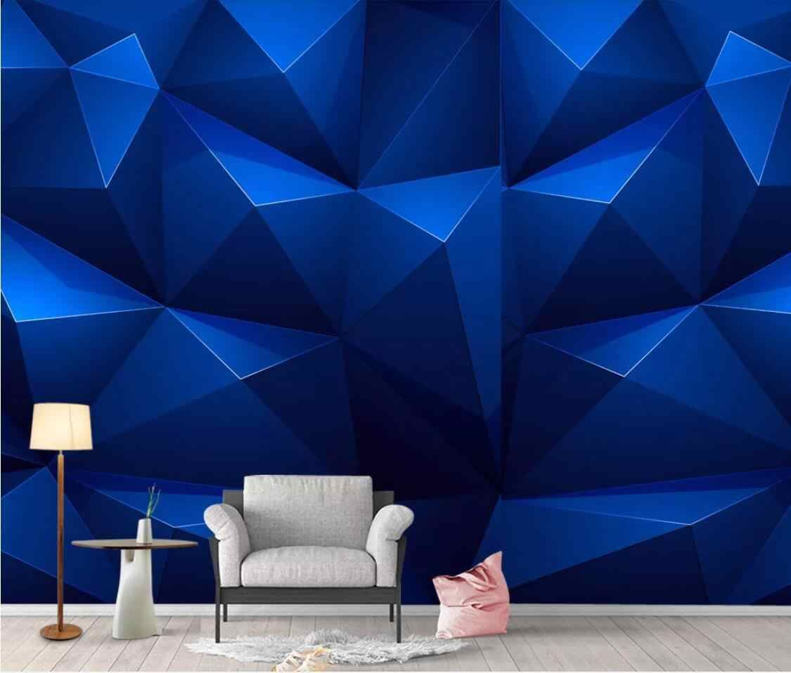 Blue Abstract Geometric Wallpaper Wall Mural For Living Room Creative Wall Paper Waterproof Canvas Contact Paper Home Decor Wallpapers Aliexpress Geometric Wallpaper For Walls Wall Wallpaper Wall Murals Wallpaper
