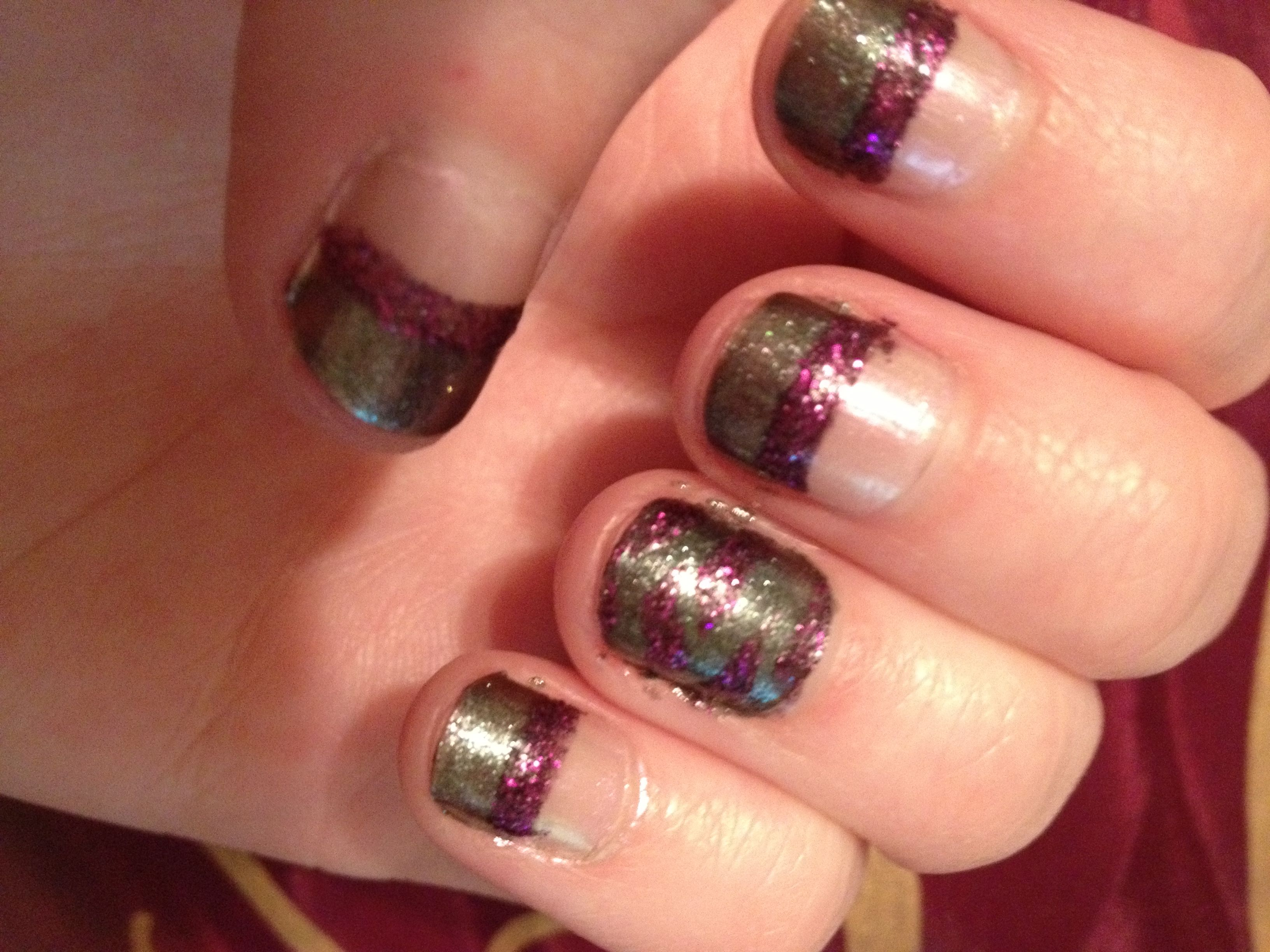 Gray nails with purple sparkle and zebra!