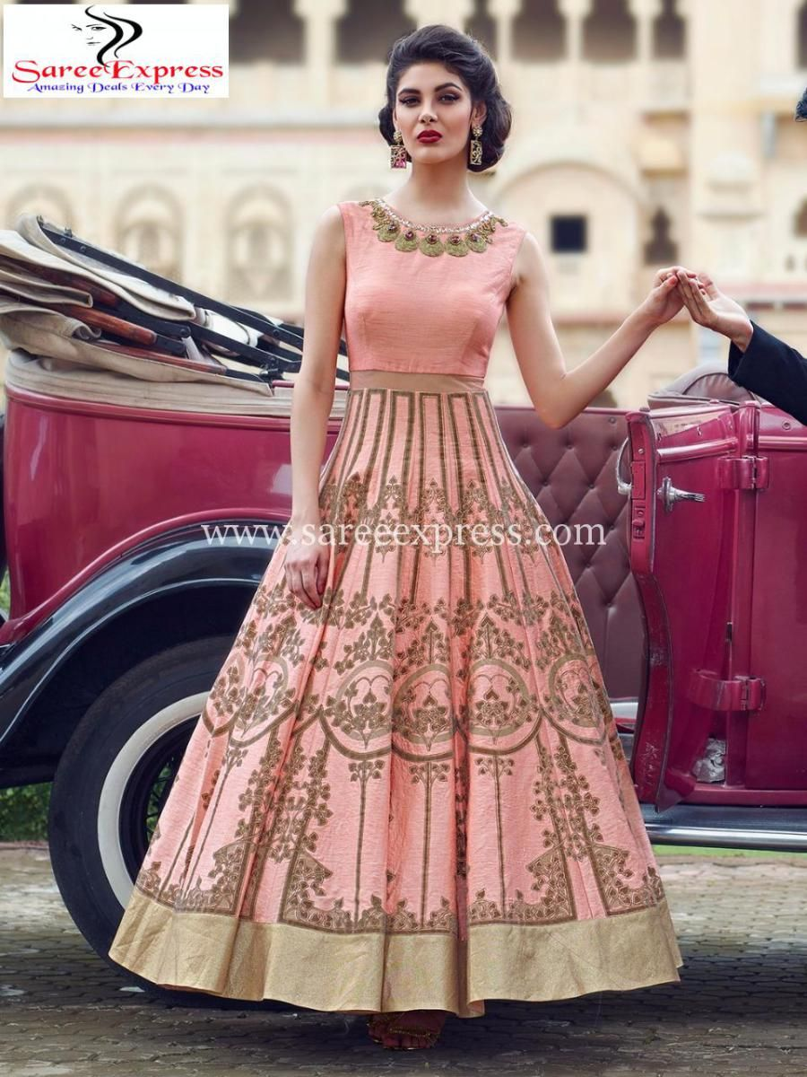 00dfb5759e Light Pink Emboidered Partywear Crop Top Lehenga Gown