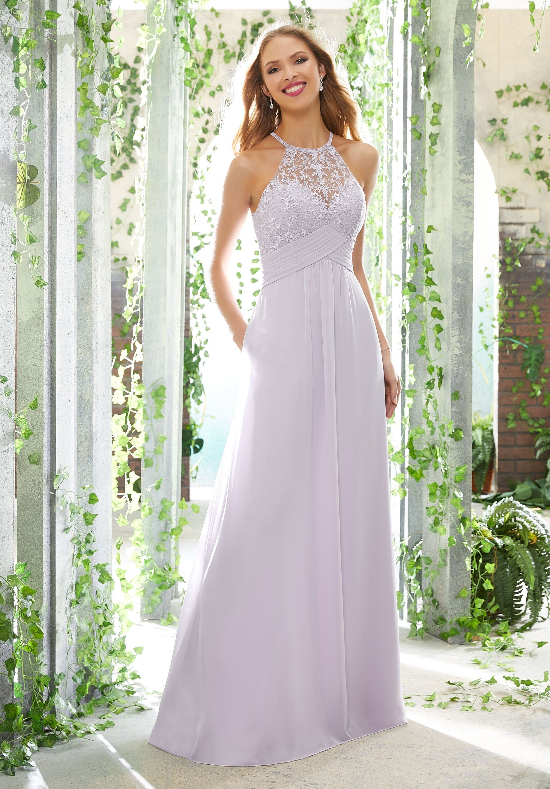 Morilee Bridesmaids 21604 Lace Halter With Keyhole Back
