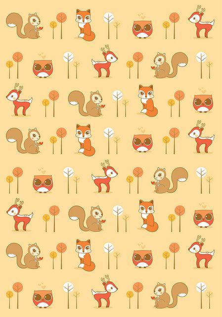 Animais Da Floresta Pattern Fall Wallpaper Pattern Art