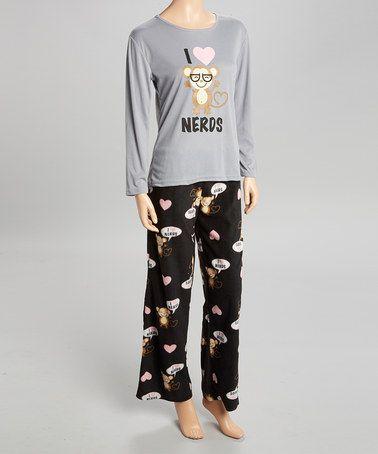 Look at this #zulilyfind! Gray & Black Monkey Pajama Set - Women #zulilyfinds