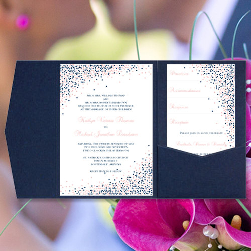 pocket wedding invitations confetti navy blue and blush pink