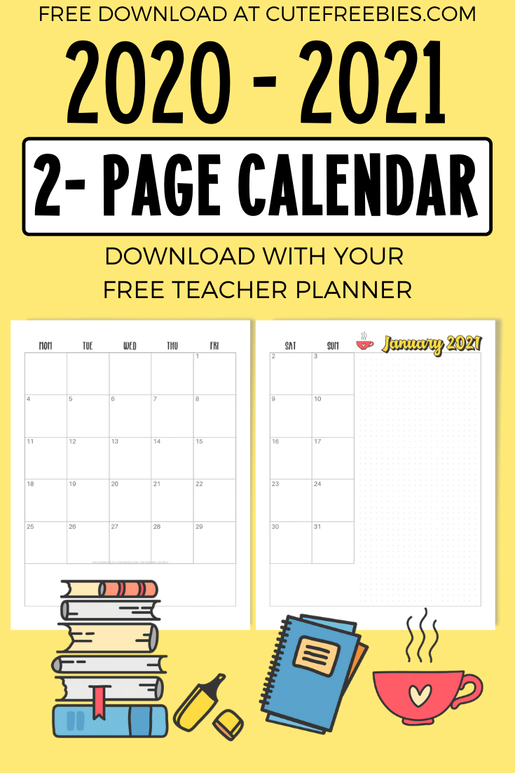 Teacher Planner For 2020 - 2021 - Free Printable! - Cute Freebies For You