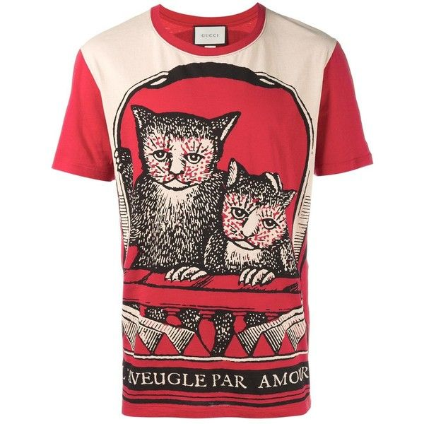fefc3e89b0e Gucci cat print t-shirt ( 360) ❤ liked on Polyvore featuring men s fashion