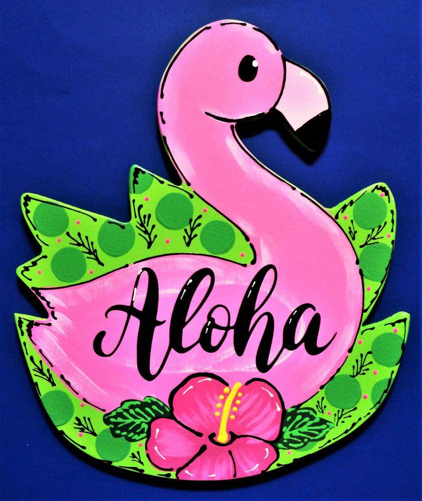 Aloha Flamingo Sign Deck Patio Pool Wall Door Plaque