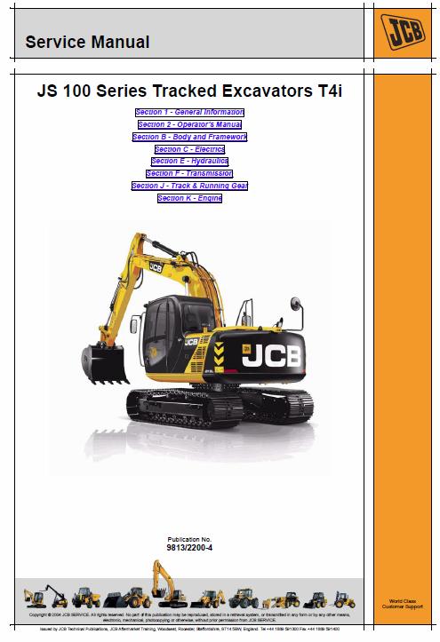 Jcb Js115 Js130 Js145 Js160 Js180 Js190 T4i Tracked Excavators Service Manual Excavator Manual Service