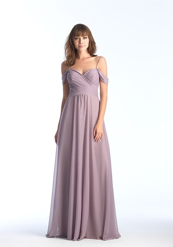 This off-shoulder chiffon gown is ruched along the bodice ...