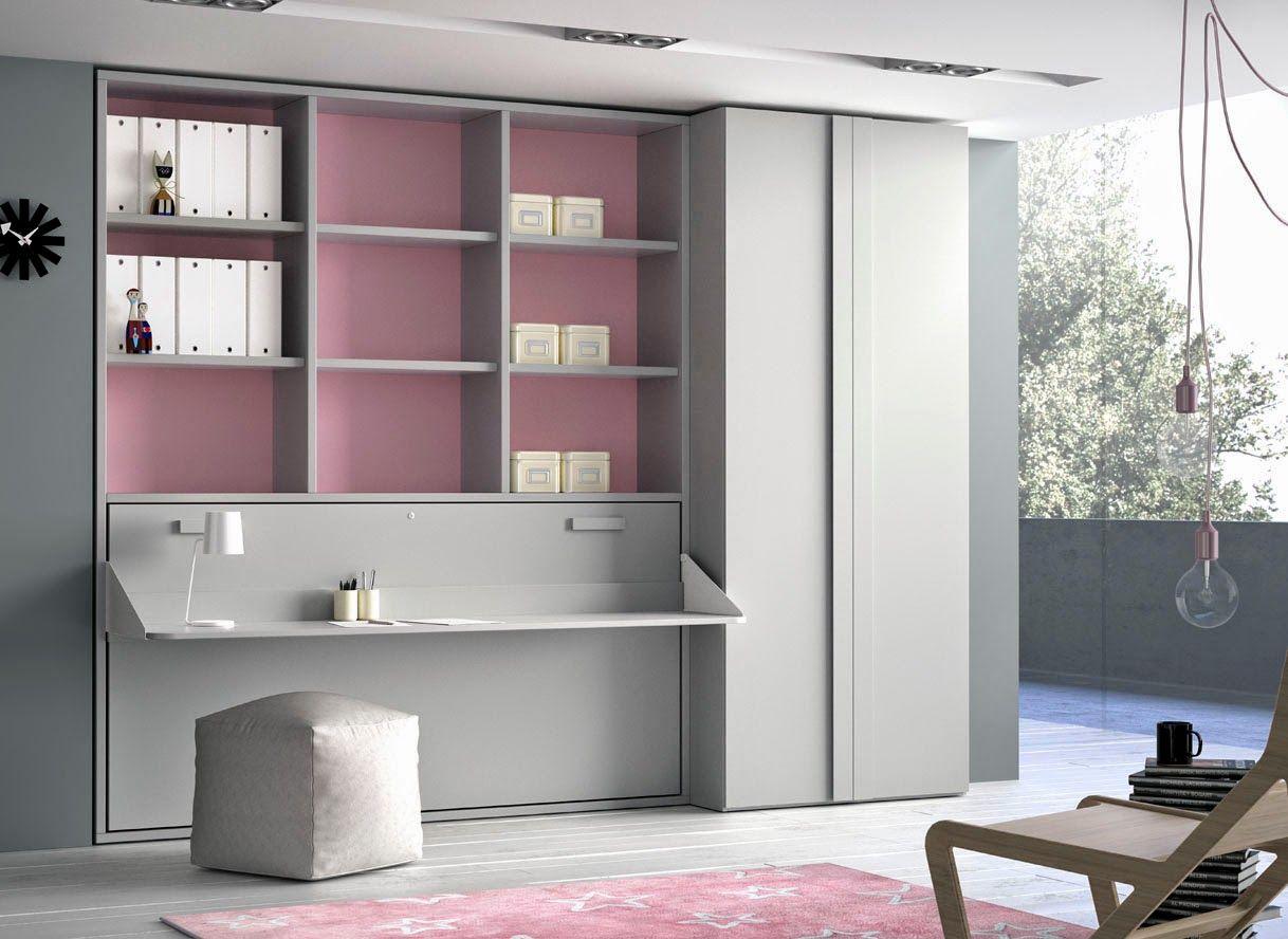 Cama abatible con escritorio incorporado y estanteria - Fabricar cama abatible ...