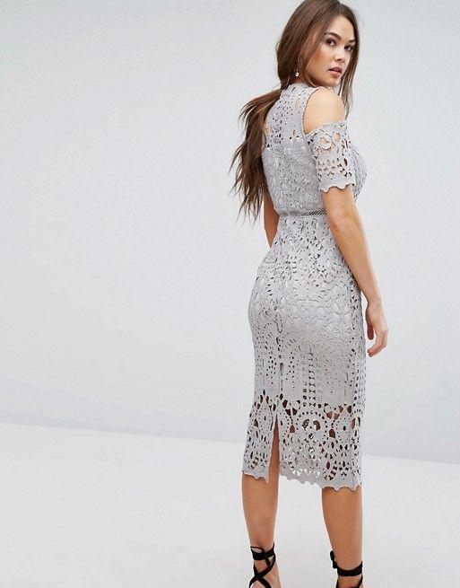 Premium Cutwork Lace Cold Shoulder Maxi Dress - Grey True Decadence lXb3ztd0av