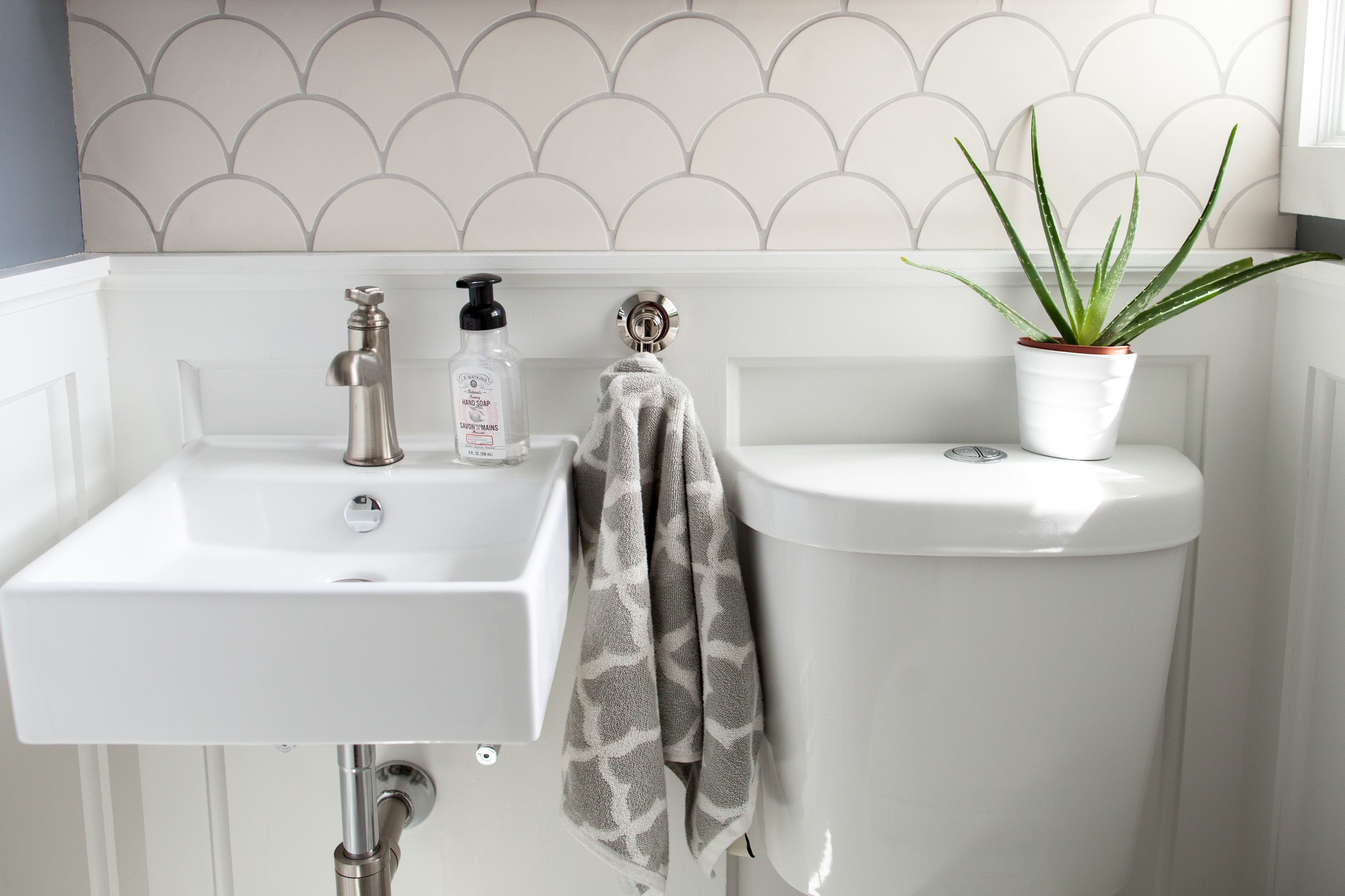 White Modern Morocco Bathroom | Fish scale tile, Moroccan and Bath