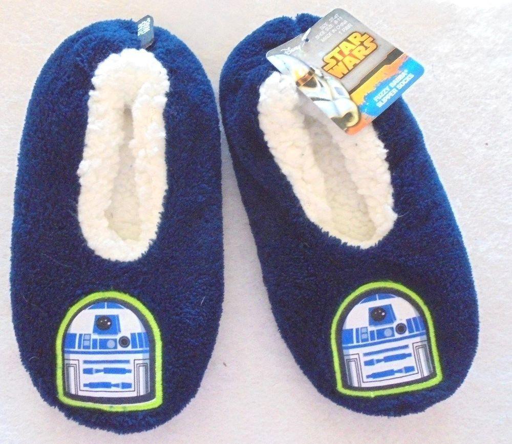 17bfabcb406 Disney Star Wars R2D2 Toddler Slipper Socks Fuzzy Babba House Slipper NWT  3T-4T