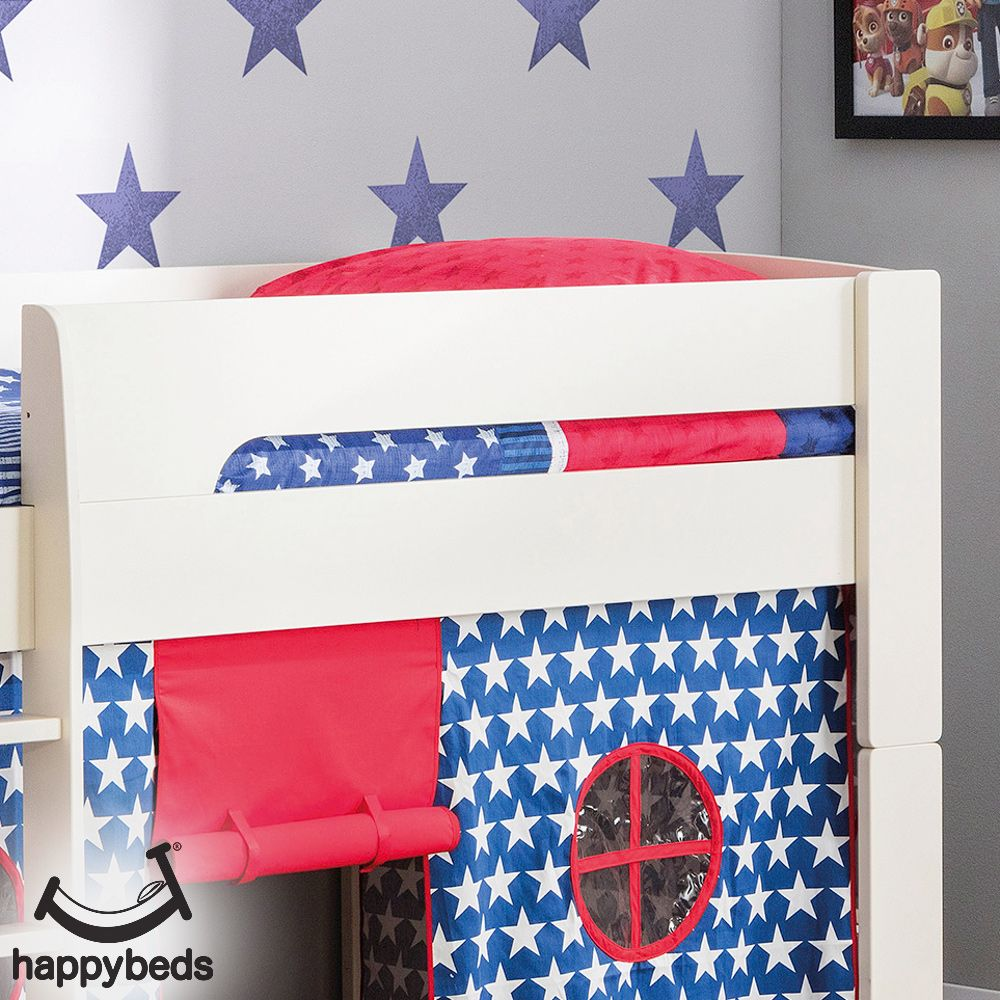 Pluto Stone White Wooden Mid Sleeper with Starry Blue Tent