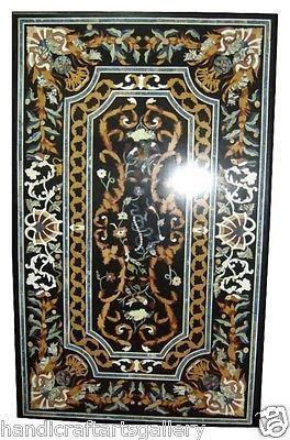 6'x3' Black Marble Dining Center Table Top Pietradure Inlay Outdoor Decor H2068A