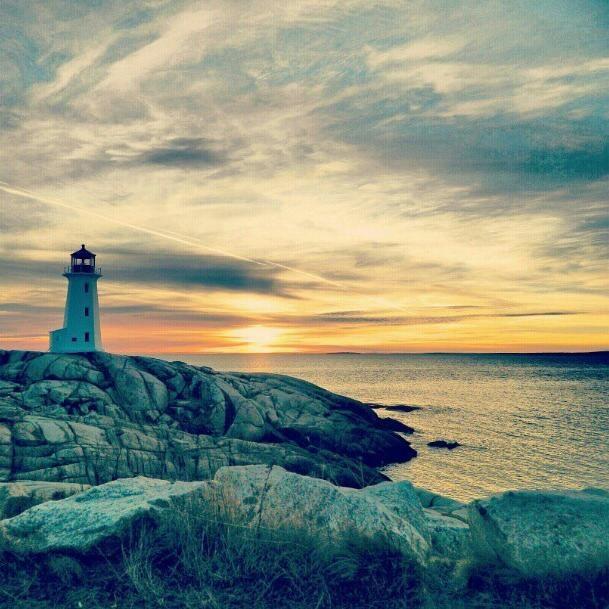 Peggy's Cove, Nova Scotia at Sunset.