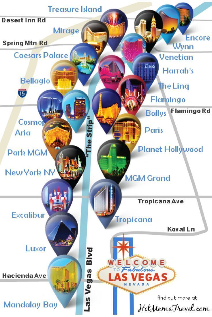 Las Vegas Strip Hotel Map: A unique map of main hotels on the Vegas ...