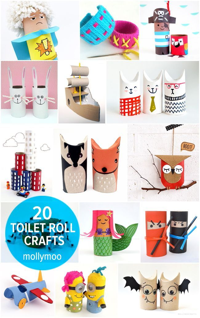 20+ toilet roll crafts for kids age 5yrs and up. Fun paper dolls, city stacking toy, mermaids, woven bracelets, superheros, cats and so much more // mollymoocrafts.com: