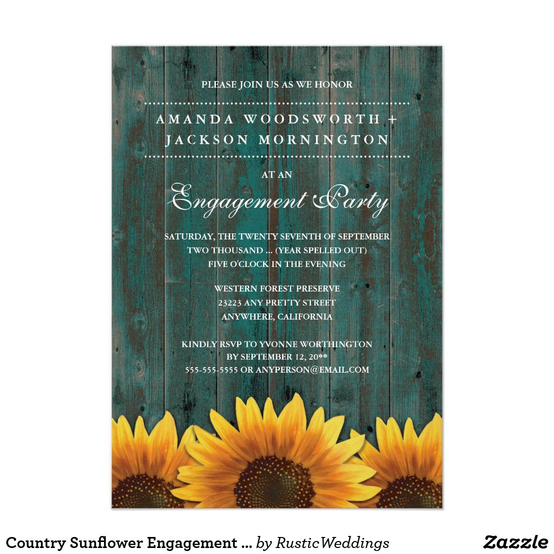 Country Sunflower Engagement Party Invitations | BaBy-Que ...