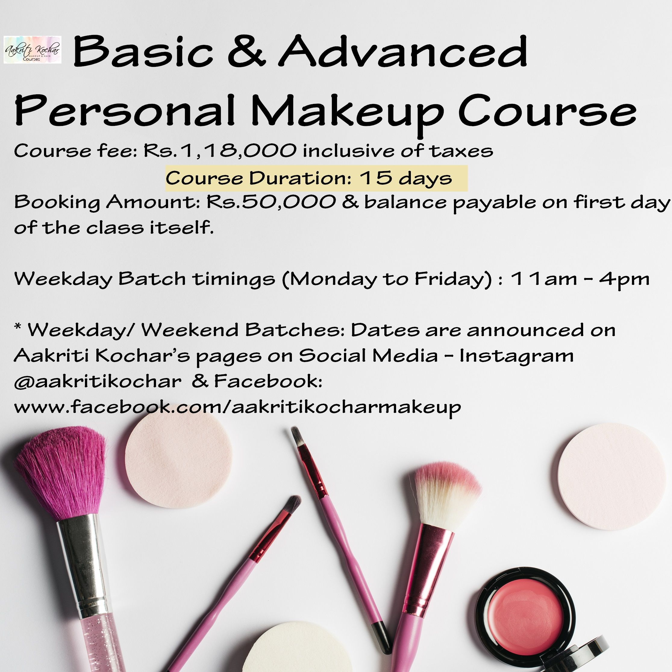 Basic and Advanced Personal Makeup Course Details