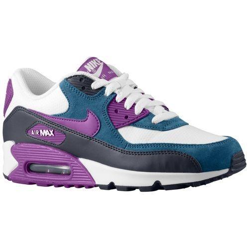 Nike Air Max 90 - Women's - Running - Shoes - White/Obsidian/New  Slate/Bright Grape