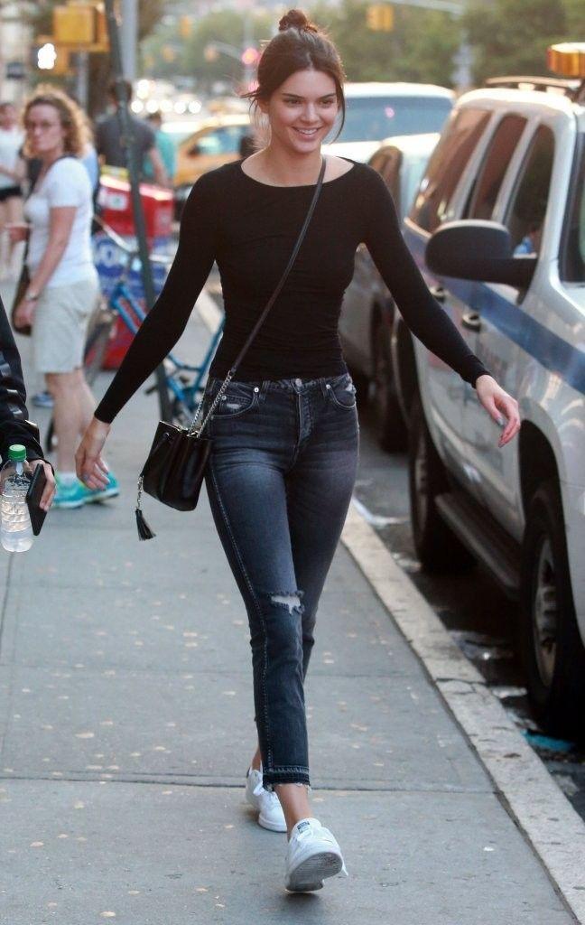 5898b68ae41 Black Long Sleeve Plain Top Fashion of Kendall Jenner