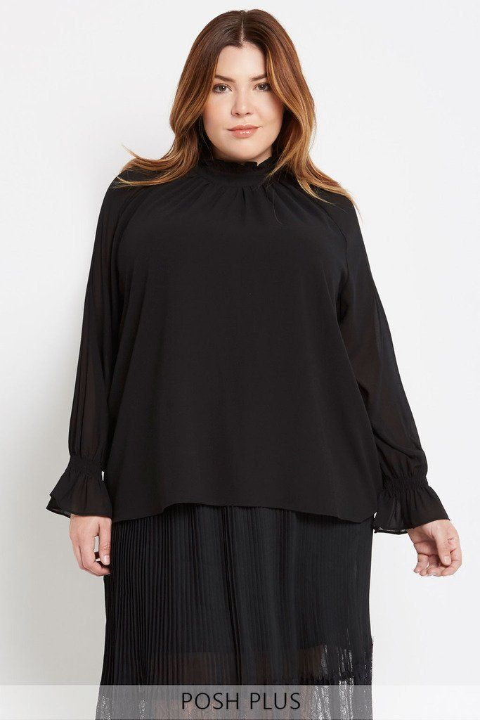 Full Factor Long Sleeve Chiffon Blouse Plus Size