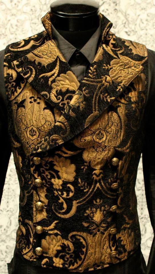 Gold Black Victorian Cavalier Vest Tapestry Vampire Shrine Gothic BxUvwWa