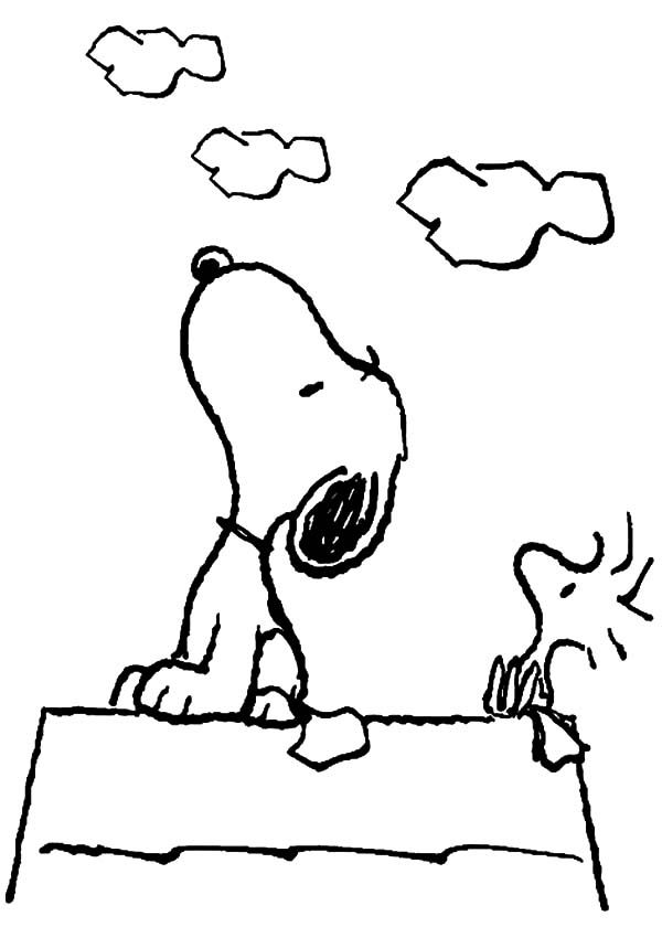 Snoopy And Woodstock Looking At The Sky Coloring Pages