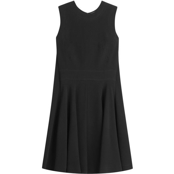 Alexander McQueen Crepe Mini Dress (€1.760) ❤ liked on Polyvore featuring dresses, black, short dresses, crepe dress, circle skirt, zipper mini dress and alexander mcqueen