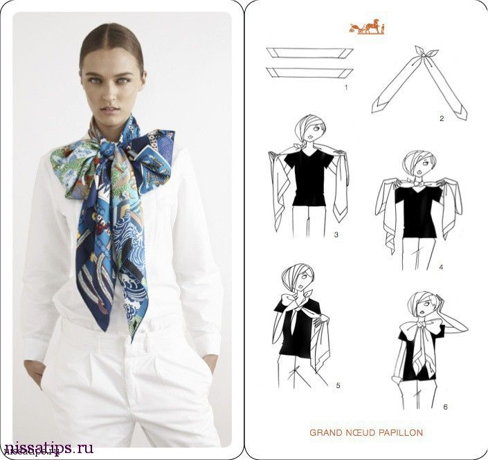 2ed5f3939495 How To Tie A Scarf - Hermès Scarf Knotting Cards Vol.4 - Grand Papillon