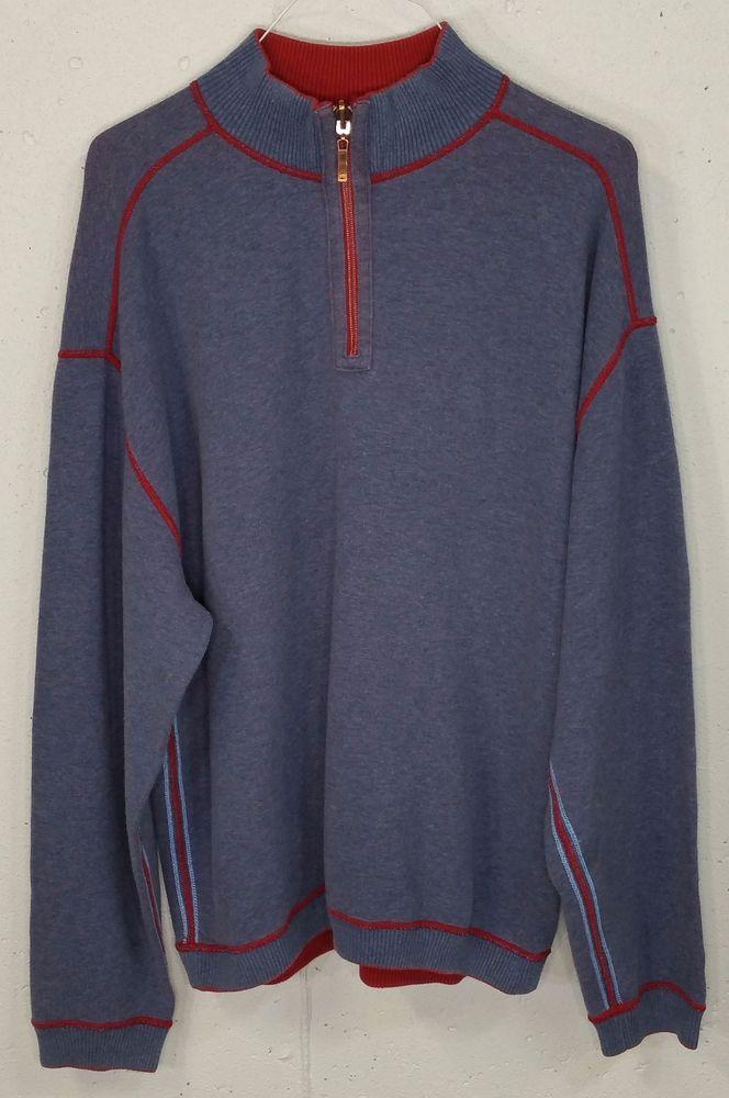 Tommy Bahama Mens Blue or Red Reversible 100% Cotton 1/4 Zip Sweatshirt XXL #TommyBahama #14ZipPullover