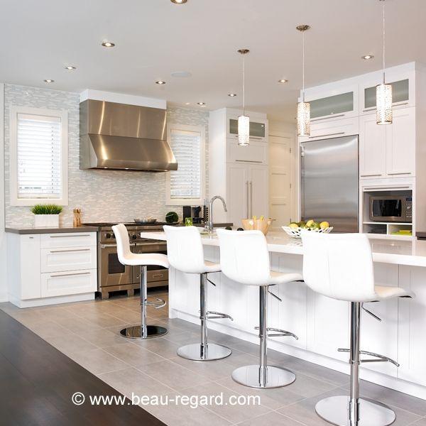 Armoire de cuisine en bois massif, armoire contemporaine blanche  cuisine