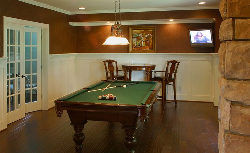 Pool Table Room With Wainscotting, Hardwood Floors Part 93