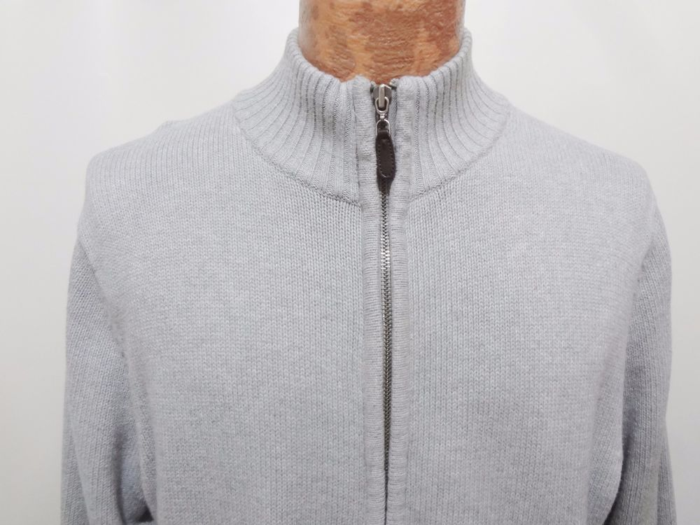 Details about LL Bean Mens M Reg Light Gray Cotton Zip-Front ...