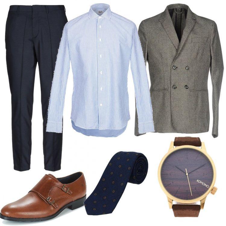 Pantalone elegante blu Camicia azzurro chiaro a righe