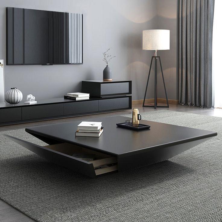 Modern Black Wood Coffee Table With Storage Square Drum Coffee Table With Drawer Table Decor Living Room Centre Table Living Room Center Table Living Room