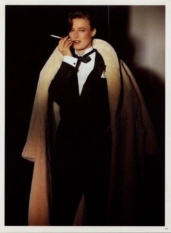 4fe8067c2c89b 1983 - Yves Saint-Laurent tuxedo Androgyny is timelessly alluring. And yes.  Cigarettes are accessories too.