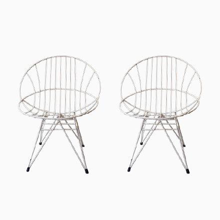 Weiß Bemalte Metall Gartenstühle, 1960er, 2er Set Jetzt Bestellen Unter:  Https:/