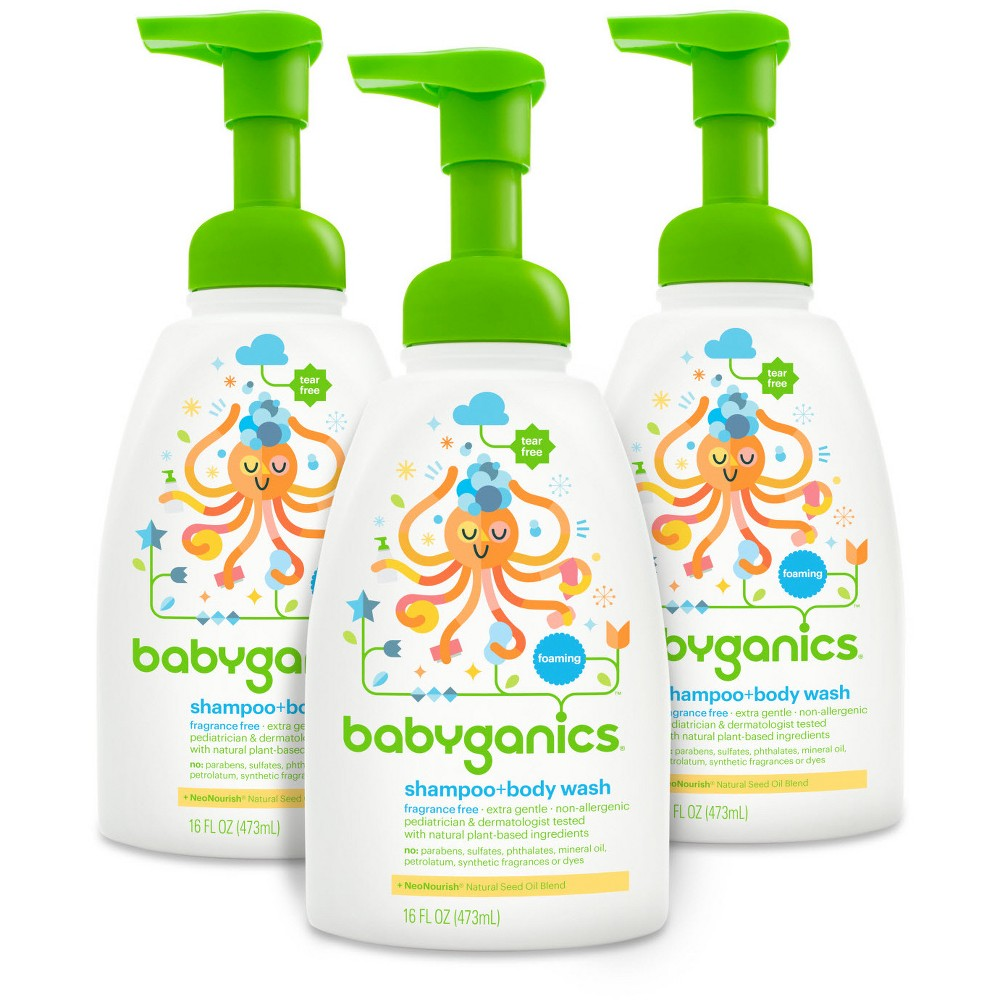 Babyganics Shampoo Body Wash Fragrance Free 16oz 3pk Baby